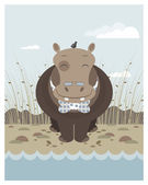 Hippo on the banks of a river — Stock Vector