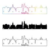 Malmo skyline linear style with rainbow — Stock Vector