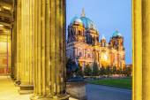 Berlin - Germany - September 30 :Highlighted building of Berlin Cathedral - Berliner Dom seen form the entrance of Altes Museum. Located at Museum Island in Berlin — Stock Photo