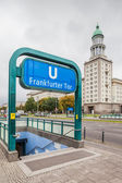 Berlin - Germany - September 30 :One of the four main entrances to Berlin metro station Frankfurter Tor. In background one of two high towers forming Frankfurter Tor — Stock Photo