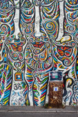 Berlin - Germany  - September 29, 2014. Very decorative part of famous East Side Gallery - over 1 km long mural gallery painted on oryginal part of Berlin Wall. — Stock Photo