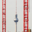 Germany, Berlin - TV tower seen through two big building cranes. — Stock Photo #63392885