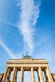 Berlin - Germany - September 29. Dramatic clouds gatherings above Brandenburg Gate in Berlin, Germany. Gate is most famous monument in Berlin. Text place — Stock Photo