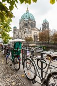 Berlin - Germany - October 02. Berlin Cathedral (Berliner Dom) and locked bicycles. Berlin - Germany - October 02, 2014 — Stock Photo