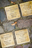 Berlin - Germany - October 02,  . Stolperstein,  monument created by Gunter Demling wchich commemorates a victim of the Holocaust. Small, cobblestone-sized memorials located on the pavements — Stock Photo