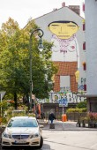 Berlin - Germany - September 29.  One of the big mural paintings on Kreuzberg housing - most international part of Berlin city. Berlin - Germany - September 29, 2014 — Stock Photo