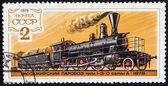 7840 USSR - CIRCA 1979. Russian post stamp, printed in USSR, released in 1979. Steam passenger train, locomotive type 1-3-0 series A from 1878.USSR - CIRCA 1979. — Stock Photo