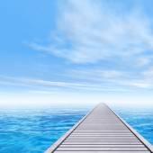 Wooden deck pier on coast — ストック写真