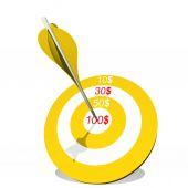 Target with dollar and an arrow — Stock Photo