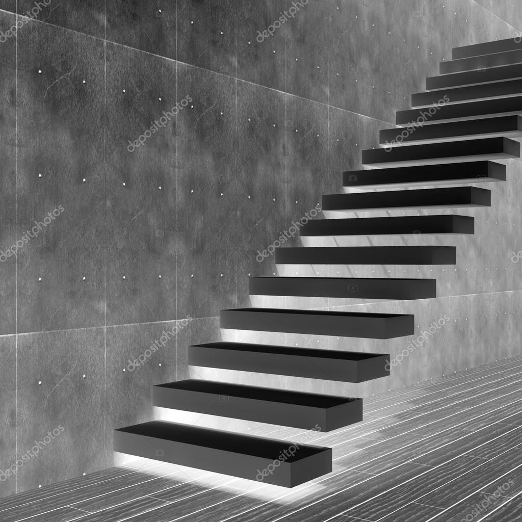 concepto o piedra negra conceptual o escaleras concretas o pasos cerca de un fondo de pared con piso de madera u foto de design