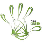 Abstract green ecology hand print — Stock Photo