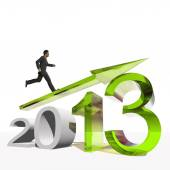 Businessman running over  2013 symbol — Стоковое фото