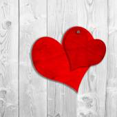 Two red old paper vintage hearts — Photo