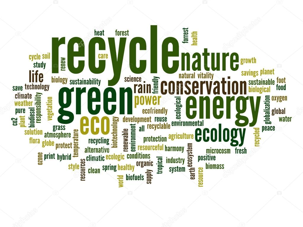 Stock Photo Recycle And Ecology Word Cloud on Green Environmental Clip Art