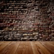Wooden old  floor and brick wall — Stock Photo #68657471