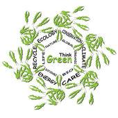 Conceptual green ecology word cloud — Stock Photo