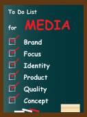 Media chalk text blackboard — Stock Photo