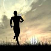 Man black silhouette running — Stock Photo