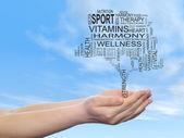 Health text word cloud — Stock Photo