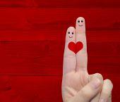 Fingers with a heart painted — Φωτογραφία Αρχείου