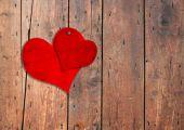 Vintage hearts nailed — Stock Photo