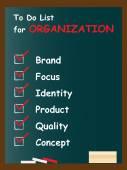 Organization  text blackboard — Stock Photo