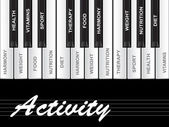 Activity text as piano keys — Stok fotoğraf
