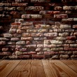 Wooden old floor and brick wall — Stock Photo #69286351