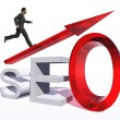 Businessman jumping over  seo — Stock Photo #69286721