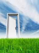 Opened door at horizon — Stock Photo