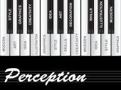 Perception text piano keys — Stock Photo