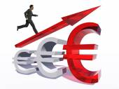 Businessman jumping over  euro — Stock Photo