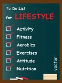 Lifestyle To do list on blackboard — Stock Vector