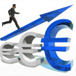 Businessman jumping over euro — Stock Photo #69601277
