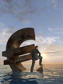Businessman sinking in ocean — Stock Photo