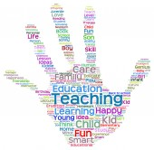 Education  hand print word cloud — Stock Photo