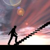 Conceptual  businessman on stair — Stock Photo