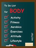 Body  to do list on blackboard — Stock Vector