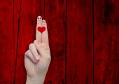 Fingers with a heart painted — Stock Photo