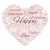 Aftelkalender voor Valentijnsdag wordcloud tekst — Stockfoto