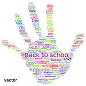 Education hand print word cloud — Stock Vector