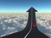 Arrow road with a car driving — Stockfoto
