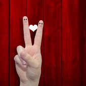 Fingers with a heart painted — Foto Stock