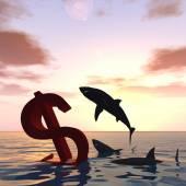 Dollar symbol or sign sinking — Stock Photo