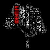 Identify word cloud — Stock Photo