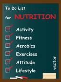Nutrition  to do list on blackboard — Stock Vector