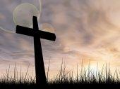 Conceptual black cross — Fotografia Stock