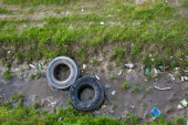 Conceptual  polluted river — Stock Photo