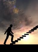 Konceptuella affärsman på trappa — Stockfoto