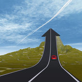 Arrow road pointing up — Stockfoto